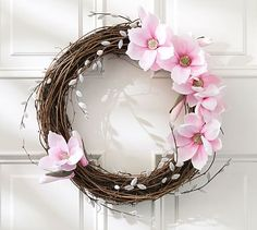 Faux Magnolia & Pussywillow Wreath #potterybarn
