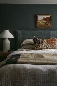 Dark Bedroom Walls, Taupe Bedroom, Dream Bedroom, Home Bedroom, Bedroom Decor, Master Bedroom, Dark Walls, Guest Room Paint, Room Interior