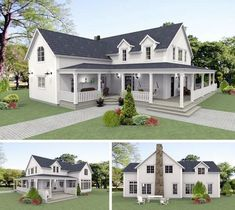 New England stil New England Hus, New England Style Homes, Homes England, Cottage Exterior, Modern Farmhouse Exterior, Style Cottage, American Houses, Hamptons House, Sims House