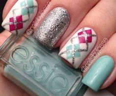 Teal, Pink, White, and Sliver Glitter with Plaid Nail Art Design