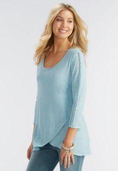 843b4d7f9c8a6 Cato Fashions Raw Edge Crossover Knit Top-Plus  CatoFashions Cato Fashion  Plus Size