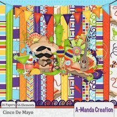 Cinco De Mayo Mini Kit by #AmandaCreation Retiring Soon!  Save 75% at #thestudio #digitalscrapbooking