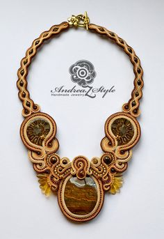 Hand embroided soutache statement necklace by AndreaZstyle on Etsy
