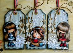 Amazing Xmas tags (with Tiddly Inks stamps) from Vili's Art