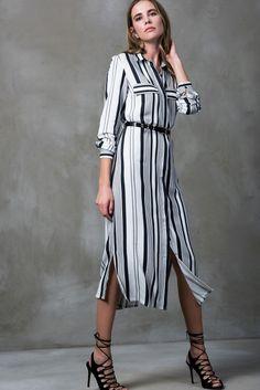 Çizgili Viskon Gömlek Elbise MLWSS16EH0824