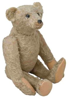 "Steiff Barle 1905 Steiff's earliest five-way disc-jointed mohair bear's legendary pattern was introduced in 1905 and appeared in the line through 1933. Originally known as ""Barle,"" he was later renamed, ""Teddy Bear"" from 1906 onward. He has black shoe button eyes and a distinctive back hump."