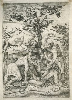 Three Witches beating a Devil on the ground, by Daniel Hopfer, early 16th century