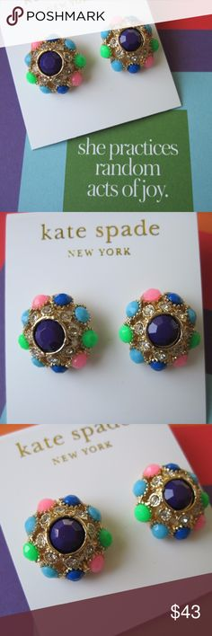 New Kate Spade Putting on the Ritz Earrings Gold Brand new and unworn, party ready Kate Spade Putting on the Ritz stud statement earrings. Sparkly gold plated metal with clear and multi colored stones with steel posts. Comes on the earring card. Perfect for a special event or dressing up every day! kate spade Jewelry Earrings
