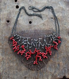 BLOODY SECRET  Copper Wire Crocheted OOAK Bib Statement Necklace/ Red Dramatic Large Unusual Art Graphic Necklace. Made to order! by Ksemi on Etsy https://www.etsy.com/listing/115096036/bloody-secret-copper-wire-crocheted-ooak