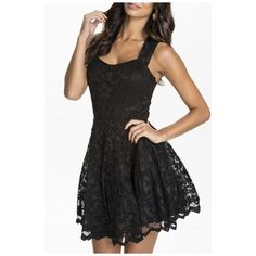 Womens Floral Lace Skater Pleated Party Casual Dress ($37) ❤ liked on Polyvore featuring dresses, skater dress, going out dresses, night out dresses, lace dress and floral skater dress