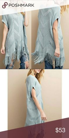 Dolman Fringe Tunic - Cloud Sweater knit tunic with dolman sleeves. Shark-bite hem, fringe detailing. Wear it over a bralette  or tank top.  100% soft acrylic blushonme Tops Tunics