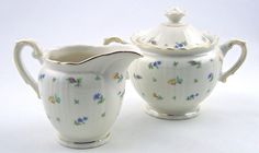 Vintage Sugar Bowl and Creamer Set Suzanne