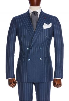 Blue Pinstripe Double-breasted Suit, Wool