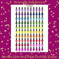 NEW!!!! DIY Rainbow Glam Nail Polish 100 Printable Stickers pdf and jpeg Erin Condren Planner Kikkik Filofax