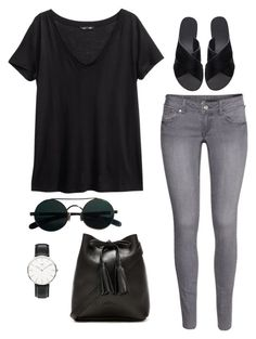 """Untitled #168"" by thewestcoastrunaway ❤ liked on Polyvore featuring H&M, Shaffer, Daniel Wellington and Ancient Greek Sandals"