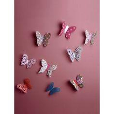 Lot de 14 décors papillons chambre fille