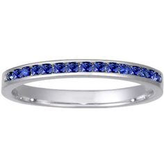 18K White Gold Petite Channel Set Round Sapphire Ring