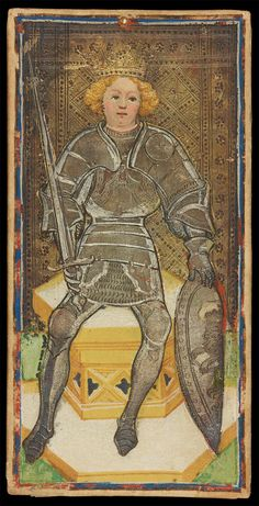 The King of Swords | Bonifacio Bembo for Visconti-Sforza Family | Medieval Tarot Cards | ca. 1450 | card no. 22 | The Morgan Library & Museum