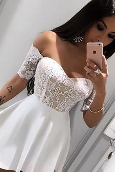 Off-The-Shoulder Homecoming Dresses Short Sleeves Dresses White Homecoming Dresses Junior Party Dresses Sexy Homecoming Dress Sweetheart Prom Dresses Lace Homecoming Dresses Summer Dresses for Girls Short Sleeve Prom Dresses, Sexy Homecoming Dresses, Junior Party Dresses, Prom Party Dresses, Sexy Dresses, Girls Dresses, Summer Dresses, Short Sleeves, Dress Prom