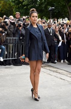 Nina Dobrev at Paris Fashion Week.