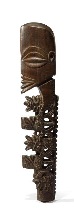 Object: Atua rakau (staff god) | Collections Online - Museum of New Zealand Te Papa Tongarewa. Staff god. Rarotonga, Cook Islands, central Polynesia. Late 18th to early 19th century C.E. Wood, tapa, fiber, and feathers.