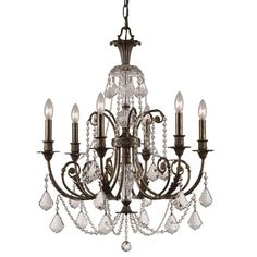 Light up your home in style with this six-light chandelier from Crystorama. This stunning crystal chandelier crafted from wrought iron and hand-polished crystal, ensuring it looks beautiful for years