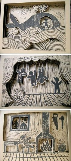 """Pages from Linda Toigo's Pinocchio. Linda Toigo has a book of quasi tunnel books with scenes from Pinocchio. Each page is made 3d with layered cutouts. She says the story """"has a very strong dark side: death, failure, deception and fear are always present throughout the narration"""":"""