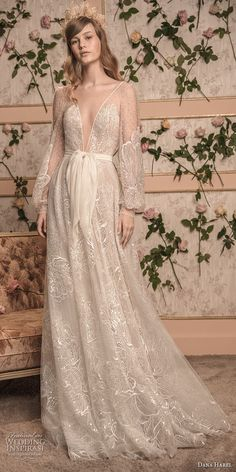 dana harel 2018 bridal long bishop sleeves deep v neck full embellishment romantic bohemian a line wedding open back sweep train (7) mv -- Dana Harel 2018 Wedding Dresses