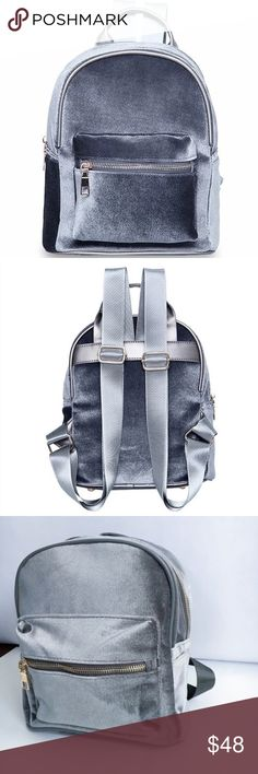 Gray Velvet Mini Backpack NWT Boutique Backpack, Just in! Mini backpacks! This is a gray velvet back pack with gold finishings. Outside Front Zipper Pocket. Front Zipper closure. Inside zipper pocket. Gray inside lining. Measurements: 9 x 10 x 5 inches. Hand Held Strap. Adjustable Back straps. Material: Velvet, Vegan Leather, Alloy. Black and red also available amannequin Bags Backpacks