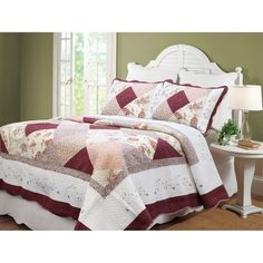 Georgia Patchwork 3 Piece Quilt Set Queen Size Classic Country Style Ivory Back #Unbranded #Country
