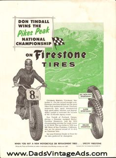 1955 Firestone Motorcycle Tires - Don Tindall Wins Pikes Peak 1-Page Ad