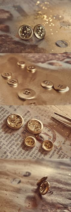 Glitter earrings with buttons - tutorial.
