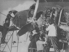 Women working for the assembly of the Japanese transport aircraft Showa L2D (marine transport aircraft type 0). L2D was developed in the design office 'Seva Hickok' on the basis of licenses purchased US aircraft Douglas DC-3. The Allies had L2D codename 'Tabby' ('Tabby').