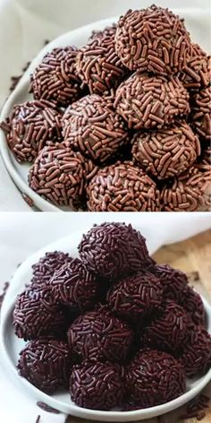 food deserts With only 4 ingredients and fully of delicious fudgy, chocolatey flavor this easy Brigadeiro recipe is a delicious Brazilian treat that you have to whip up! Yummy Recipes, Candy Recipes, Sweet Recipes, Cookie Recipes, Snack Recipes, Yummy Food, Recipe Tasty, Healthy Recipes, Allrecipes Recipe