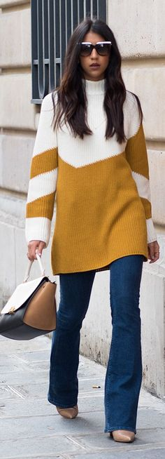 Not Your Standard Two Tones Sweater Dress Fall Inspo