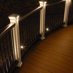 lighting for decks. trex led pyramid post cap lights and recessed lighting for decks