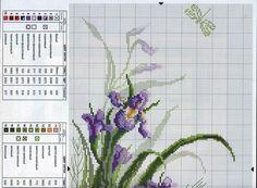 ENCANTOS EM PONTO CRUZ: Flores ~~ PURPLE IRIS  PAGE 1 OF 2