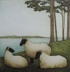 View Summer Fields, a 12 by 12 inch collagraph print by artist Kathleen Walsh Buchanan, depicting 3 sheep in the grass by the ocean. Discover more Maine art. Sheep Paintings, Animal Paintings, Watercolor Animals, Watercolor Paintings, Watercolour, Sheep Art, Art Folder, Dragonfly Art, Sheep And Lamb