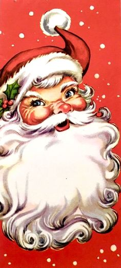 Vintage Santa. Vintage Christmas Card. Retro Christmas Card.