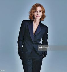 Actress Isabelle Huppert at a portrait session in 2009 for Madame. Classic Blue Suit, Star Francaise, Isabelle Huppert, Dramatic Classic, Beautiful Old Woman, Sofia Coppola, Jane Fonda, Iconic Women, Female Portrait