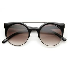 Contemporary Designer Retro Circle Super Half Frame Flat Bar Sunglasses 8525