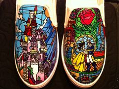 Shoes, hand-painted with the stained glass windows from Beauty and the Beast