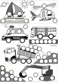シール貼り 乗り物 無料DL Preschool Art Activities, Toddler Learning Activities, Kids Learning, Activities For Kids, Toddler Fun, Toddler Crafts, Transportation Activities, Do A Dot, Montessori Toys