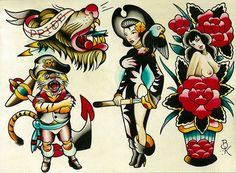 Flash 6 by Brian Kelly Pirate Nude Tattoo Designs Canvas Art Print – moodswingsonthenet