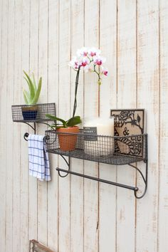 This sturdy metal shelf makes the perfect addition to any kitchen, bath, or bedroom. Available in over 50 custom colors! Made of sturdy metal, with pre-installed key hole hangers. Read to hang upon arrival. Color shown: 47-Dark Bronze  LARGE Basket Measuring Approximately (in inches):  Width: 19 Height: 9 Basket Depth: 6  SMALL Basket Measuring Approximately (in inches):  Width: 9 3/4 Height: 8 3/4 Basket Depth: 3 1/2  ***** This piece is customizable in hand painted colors. Al...