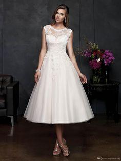 Short A-line wedding dresses Portrait Neck Tea Length
