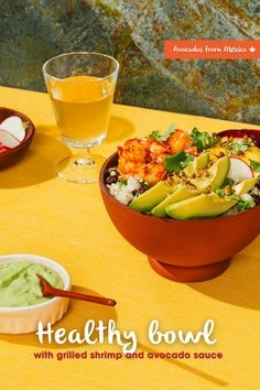 Healthy bowl with creamy avocado and grilled shrimp Rice Recipes, Mexican Food Recipes, Healthy Recipes, Dinner Menu, Dinner Ideas, Avocados From Mexico, Spicy Rice, Mexican Night, Grilled Shrimp