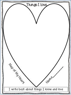 First Grade Wow: Beginning of the Year Writing Inspiration (Heart Map, What I Love, Happy to Be Me poem)