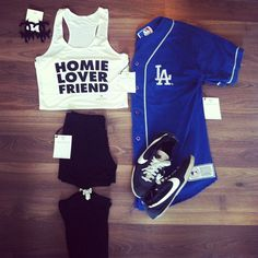 Ive been trying to see where to find these jerseys Dope Outfits, Sport Outfits, Casual Outfits, Summer Outfits, Dodgers Outfit, Dodgers Gear, Cute Fashion, Urban Fashion, Young Adult Fashion