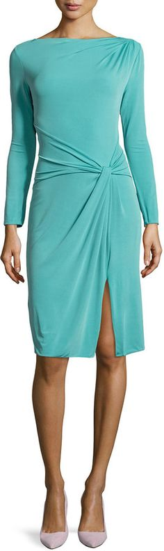 Armani Collezioni Gathered Boat-Neck Jersey Dress with Long Sleeves, Juniper